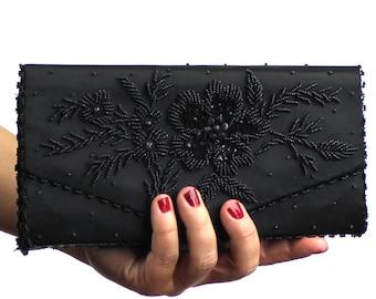 Vintage Black Floral Beaded Clutch / Beaded Evening Envelope Clutch / Hand Beaded Clutch /  Handmade in Hong Kong / Black Beaded Clutch