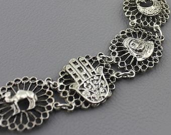 Silver Bracelet Souvenir of Morocco / Souvenir du Maroc Bracelet / Hand of Hamsa Amulet Camel Moon & Star / Good Luck Charm Gift for Her