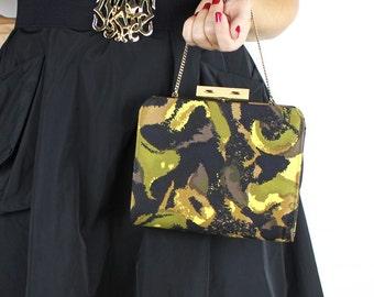 Vintage Abstract Swirl Black Olive Green Yellow & Brown Handbag