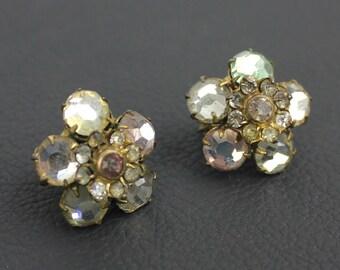Pink Green Clear Rhinestone Clip On Earrings