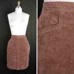 Mocha Brown Suede Leather Skirt size 14