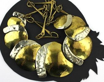 Modernist Designer JOSEPH BORIS Mixed Metals Large clip-on Dangle EARRINGS