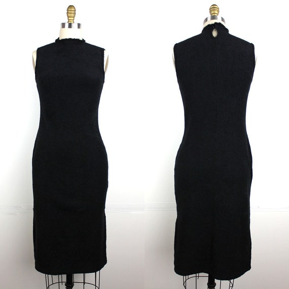 Black Knit Sleeveless Dress - body conscious sweat