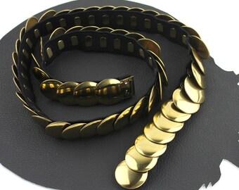 Vintage Gold Circle Scale Metal Elastic Belt