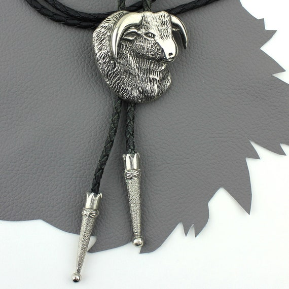Ram Cameo Bolo Tie with Black Cord and Silver Tips
