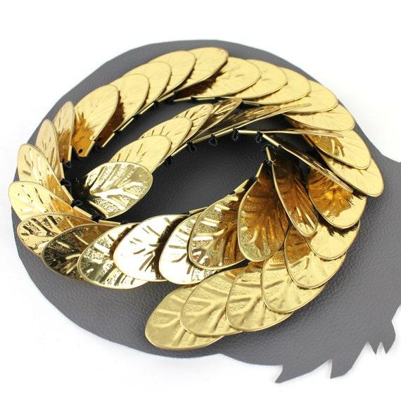 Gold Gladiator Metal Leaf Elastic Vintage Belt