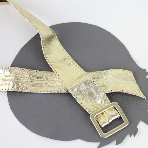 Gold Leather Vintage Belt - image 5