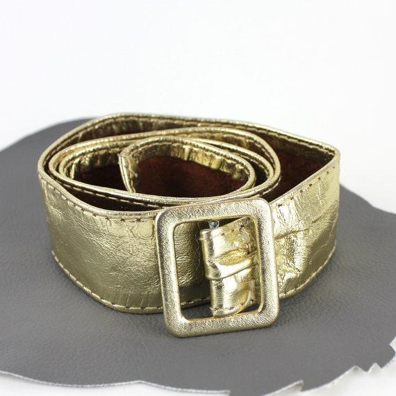 Gold Leather Vintage Belt - image 1