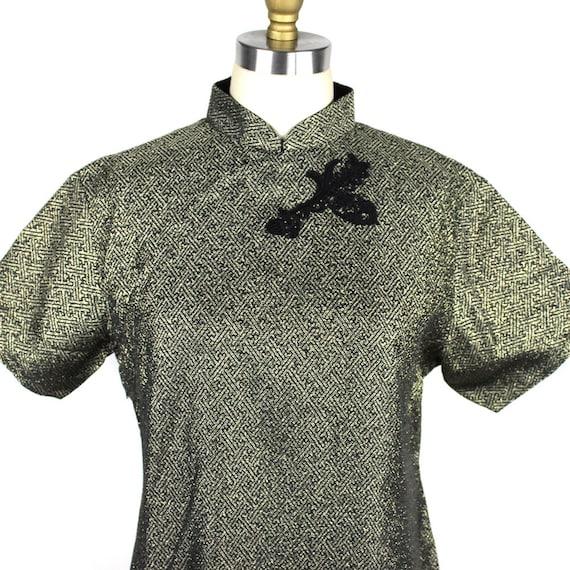 Black & Gold Metallic Thread Mandarin Collar Dress
