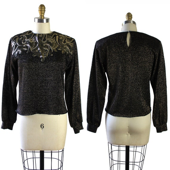 Black & Gold Metallic Vintage 80s knit Sweater Blo