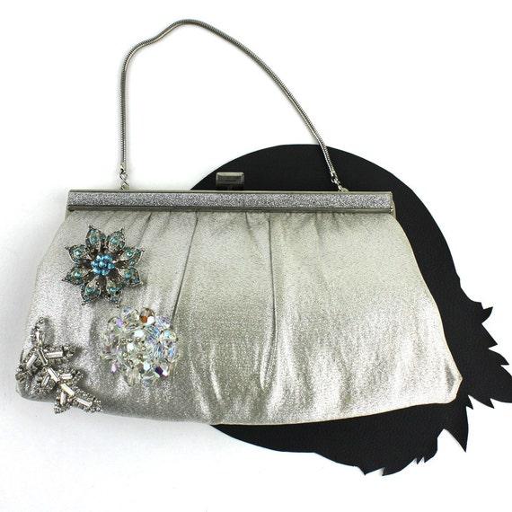 Silver Metalic Fabric Convertible Purse / Clutch w