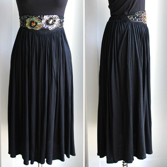 Black Embellished Knit Maxi Skirt by Western Conne