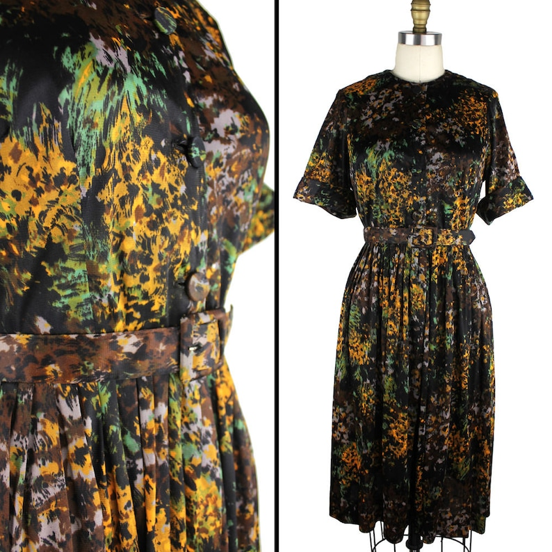 Vintage Black Brown Gold Gray and Green Abstract Floral Short image 0