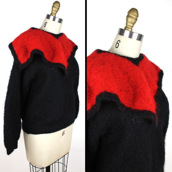 Black & Red Knit Vintage Sweater with Oversized Co