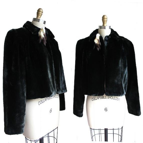 Black Faux Fur Cropped Swing Coat