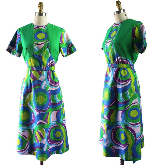 Vintage Green Blue Purple Swirl Circle Pattern Dre