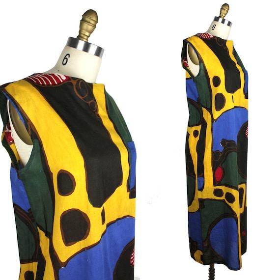 Abstract Artist Sleeveless Dress - Yellow Blue For