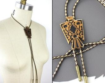 Southwestern Copper Thunderbird Bolo Tie / Gold Brown Leather Bolo / Mens Western Tie / Womens Western Jewelry / Vintage Southwest Bolo Tie