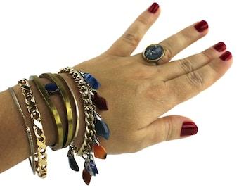 Bohemian Brass & Blue Stone Cuff Colorful Polished Rock Bracelet and Chain Bracelets Set
