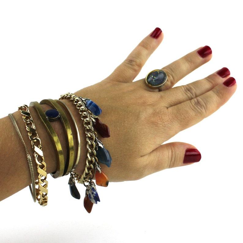 Bohemian Brass & Blue Stone Cuff Colorful Polished Rock image 0