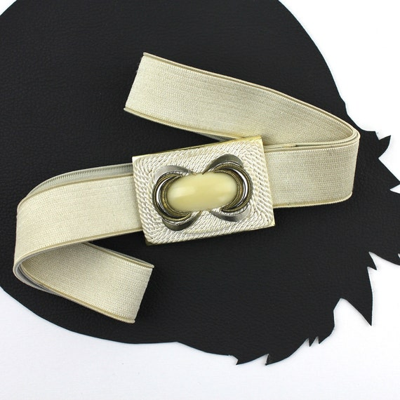 Cream & Buttery Yellow Vintage Satin Elastic Belt