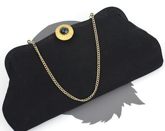 Vintage Black Convertible Purse with Button Clasp / Opera Clutch / Black Crepe Handbag / Black Chain Strap Purse / Jewel Button Closure