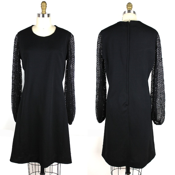Black A Line Vintage Dress with Lace Bishop Sleeve
