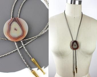 Copper Agate Western Bolo Tie with Silver Metallic Cord and Gold Aglets / White Copper Stone Bolo Tie / Geode Bolo Tie / Large Stone Bolo