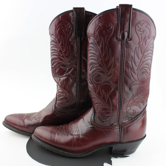 Ox Blood Red Leather Cowboy Boots Women size 6.5 M
