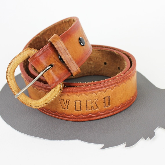 Personalized Viki Tooled Leather Vintage Belt