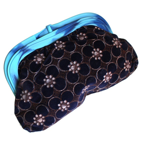 Navy Floral Velveteen with Blue Plastic Clasp Clut