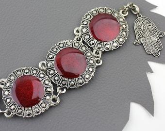 Red & Silver Bracelet Souvenir of Morocco / Souvenir du Maroc Bracelet / Silver Ruby Red Bracelet / Hand of Hamsa Amulet / Good Luck Charm