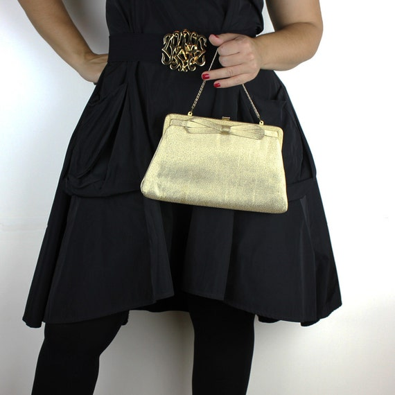 Vintage Gold Metalic Fabric Covered Purse or Clutc