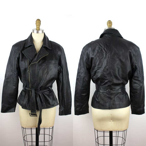 Black Leather Side Zip Belted Motorcycle Jacket