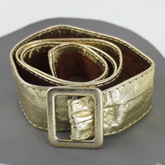 Gold Leather Vintage Belt - image 4