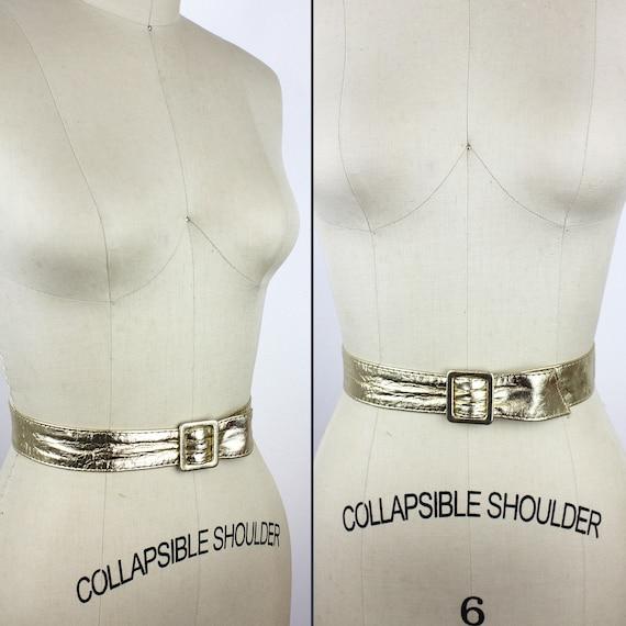 Gold Leather Vintage Belt - image 2