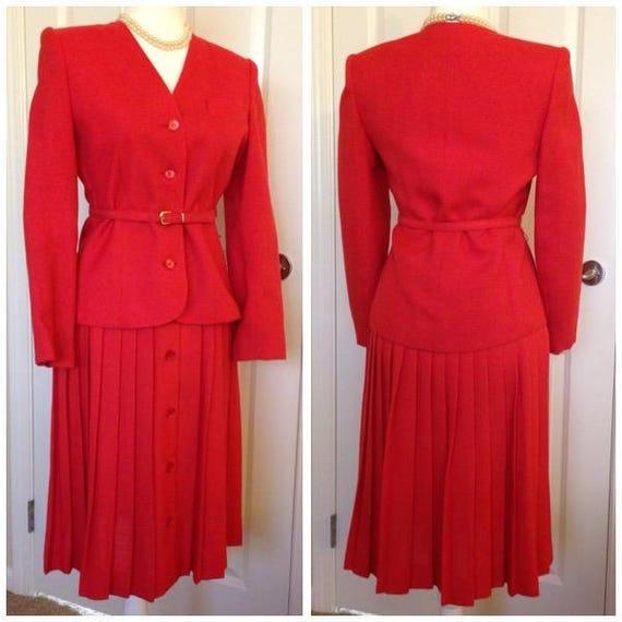Vintage Pleated Skirt and Jacket Set