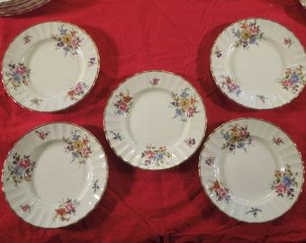 "Royal Worcester ""Roanoke"" Set of 5 Bread & Butter Plates"
