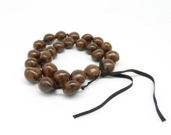Vintage Hawaiian Kakui Nut Lei / Necklace - Hawaiian themed Wedding Necklace