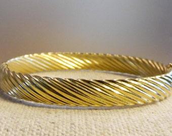 "Monet Bangle Bracelet 7"" Wrist Gold Tone Twist Design"