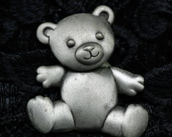 Adorable Teddy Bear Brooch/ Pin with Moveable Head/ Body