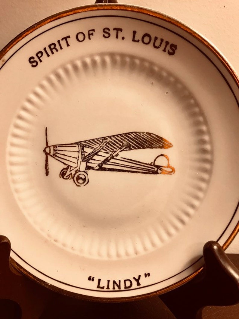 Louis Collectible advertising plate from Quincy 1930/'s  Lindbergh Lindy Spirit of St MA