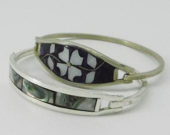 Vintage Shell Inlay Bracelets - Mexico