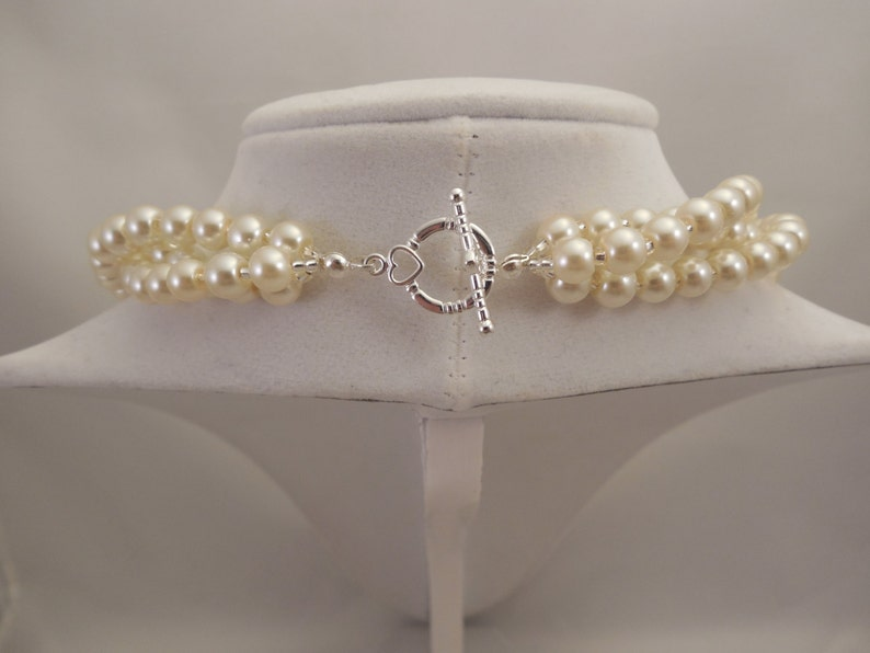 Three Strand 6mm Cream Glass Pearl Twist Decoration Necklace Very Lovely and Elegant