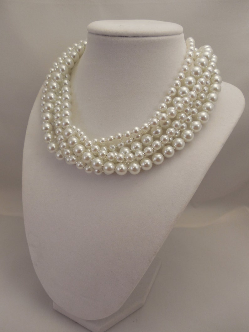 Very Elegant Wedding Bridal Multi Strand Choker Style Necklace with White Glass Pearls