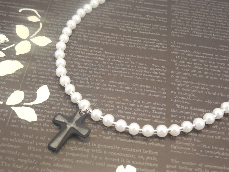 c65dc5a15e One Strand 4mm White Glass Pearl Necklace with Cross Black | Etsy