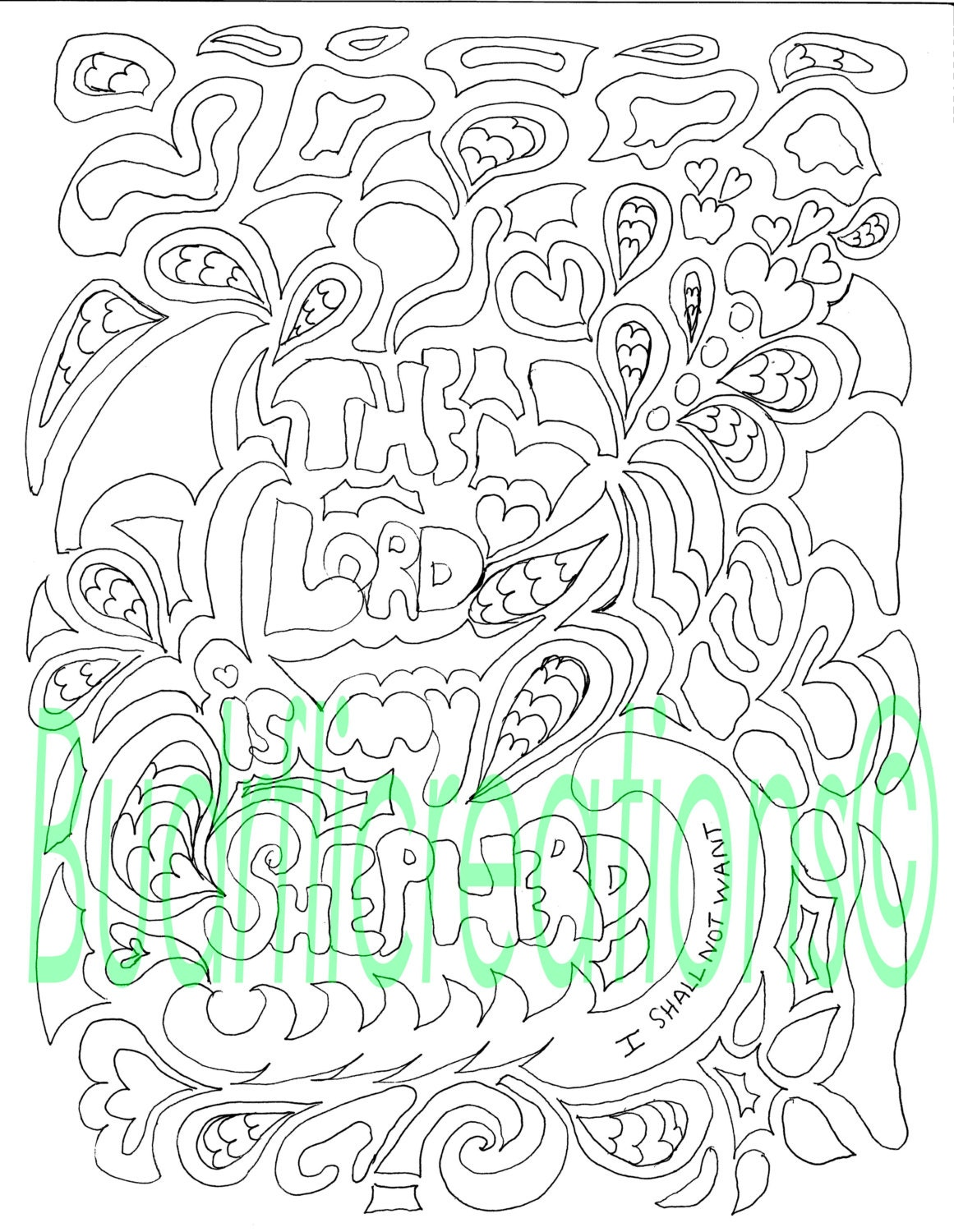 Psalms 23 The Lord is My Shepherd Adult Coloring Page Digital | Etsy
