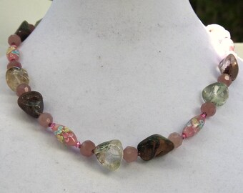 Long pink purple clear bohemian necklace Lodolite quartz Lampwork art glass Natural stone jewelry Pastel floral OOAK Wabisabi ALFAdesigns