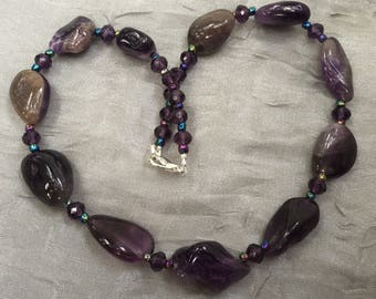 "Rustic purple amethyst choker necklace, 15"", Wabi sabi jewelry, Ultra violet gemstone necklace, February birthstone, Raw stone nuggets OOAK"