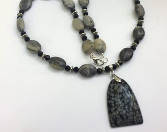 """Gray stone necklace Snowflake obsidian pendant Monochrome necklace 23"""" Long necklace Casual jewelry Unique natural necklace OOAK gift"""